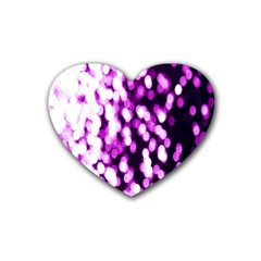Bokeh Background In Purple Color Heart Coaster (4 Pack)  by Amaryn4rt