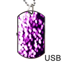 Bokeh Background In Purple Color Dog Tag Usb Flash (two Sides) by Amaryn4rt