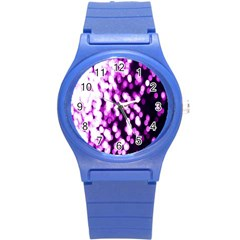 Bokeh Background In Purple Color Round Plastic Sport Watch (s)