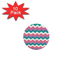 Chevron Pattern Colorful Art 1  Mini Buttons (10 Pack)  by Amaryn4rt