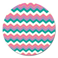 Chevron Pattern Colorful Art Magnet 5  (round) by Amaryn4rt