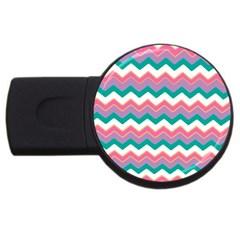 Chevron Pattern Colorful Art Usb Flash Drive Round (2 Gb) by Amaryn4rt