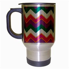 Chevron Pattern Colorful Art Travel Mug (silver Gray) by Amaryn4rt