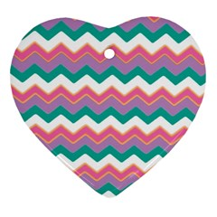 Chevron Pattern Colorful Art Heart Ornament (two Sides)