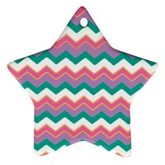Chevron Pattern Colorful Art Star Ornament (two Sides) by Amaryn4rt