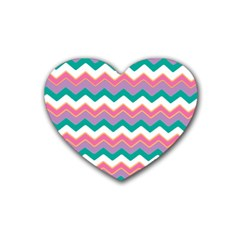 Chevron Pattern Colorful Art Rubber Coaster (heart)  by Amaryn4rt