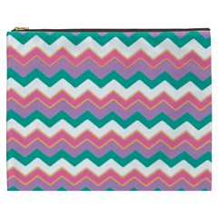 Chevron Pattern Colorful Art Cosmetic Bag (xxxl)