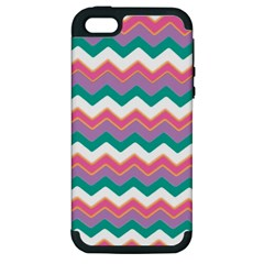 Chevron Pattern Colorful Art Apple Iphone 5 Hardshell Case (pc+silicone) by Amaryn4rt