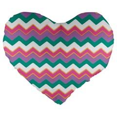 Chevron Pattern Colorful Art Large 19  Premium Flano Heart Shape Cushions by Amaryn4rt