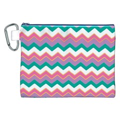 Chevron Pattern Colorful Art Canvas Cosmetic Bag (xxl) by Amaryn4rt