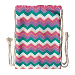Chevron Pattern Colorful Art Drawstring Bag (large) by Amaryn4rt