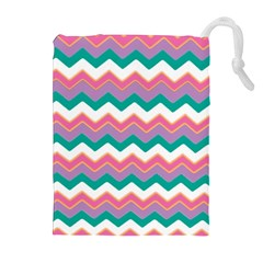 Chevron Pattern Colorful Art Drawstring Pouches (extra Large) by Amaryn4rt