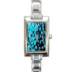 Bokeh Background In Blue Color Rectangle Italian Charm Watch by Amaryn4rt