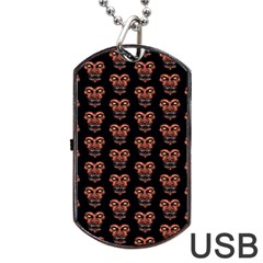 Dark Conversational Pattern Dog Tag Usb Flash (one Side) by dflcprints