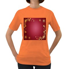 Red Background With A Pattern Women s Dark T Shirt