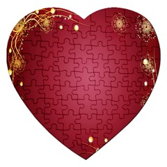 Red Background With A Pattern Jigsaw Puzzle (heart) by Amaryn4rt