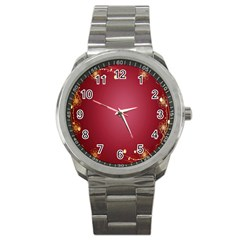 Red Background With A Pattern Sport Metal Watch by Amaryn4rt