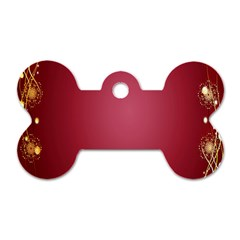 Red Background With A Pattern Dog Tag Bone (one Side) by Amaryn4rt
