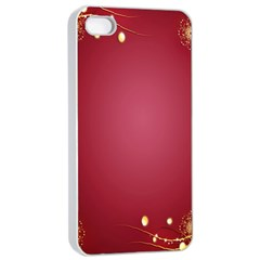 Red Background With A Pattern Apple Iphone 4/4s Seamless Case (white) by Amaryn4rt