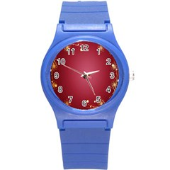 Red Background With A Pattern Round Plastic Sport Watch (s) by Amaryn4rt