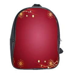 Red Background With A Pattern School Bags (xl)  by Amaryn4rt