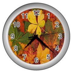 Colorful Autumn Leaves Leaf Background Wall Clocks (silver)  by Amaryn4rt