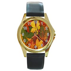 Colorful Autumn Leaves Leaf Background Round Gold Metal Watch by Amaryn4rt