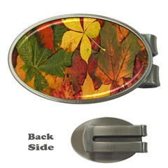 Colorful Autumn Leaves Leaf Background Money Clips (oval)  by Amaryn4rt