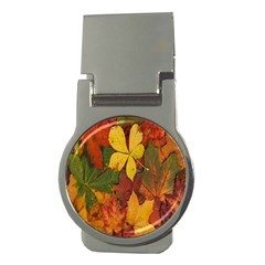 Colorful Autumn Leaves Leaf Background Money Clips (round)  by Amaryn4rt