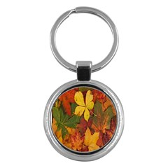 Colorful Autumn Leaves Leaf Background Key Chains (round)  by Amaryn4rt