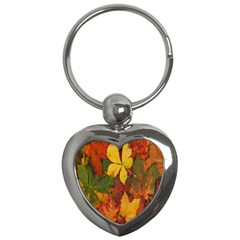 Colorful Autumn Leaves Leaf Background Key Chains (heart)  by Amaryn4rt