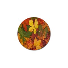 Colorful Autumn Leaves Leaf Background Golf Ball Marker (10 Pack) by Amaryn4rt