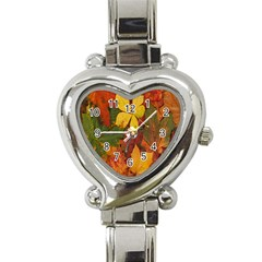 Colorful Autumn Leaves Leaf Background Heart Italian Charm Watch by Amaryn4rt