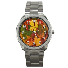 Colorful Autumn Leaves Leaf Background Sport Metal Watch by Amaryn4rt