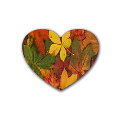 Colorful Autumn Leaves Leaf Background Rubber Coaster (heart)  by Amaryn4rt