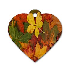 Colorful Autumn Leaves Leaf Background Dog Tag Heart (one Side) by Amaryn4rt