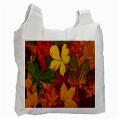 Colorful Autumn Leaves Leaf Background Recycle Bag (one Side) by Amaryn4rt