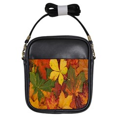 Colorful Autumn Leaves Leaf Background Girls Sling Bags