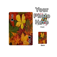 Colorful Autumn Leaves Leaf Background Playing Cards 54 (mini)  by Amaryn4rt
