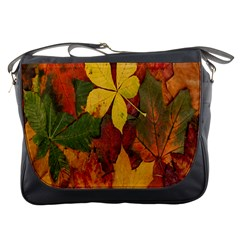 Colorful Autumn Leaves Leaf Background Messenger Bags by Amaryn4rt
