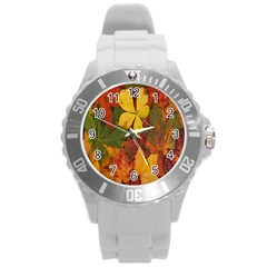 Colorful Autumn Leaves Leaf Background Round Plastic Sport Watch (l) by Amaryn4rt