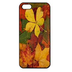 Colorful Autumn Leaves Leaf Background Apple Iphone 5 Seamless Case (black) by Amaryn4rt