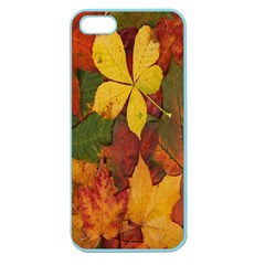 Colorful Autumn Leaves Leaf Background Apple Seamless Iphone 5 Case (color)