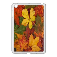 Colorful Autumn Leaves Leaf Background Apple Ipad Mini Case (white) by Amaryn4rt