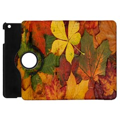 Colorful Autumn Leaves Leaf Background Apple Ipad Mini Flip 360 Case by Amaryn4rt