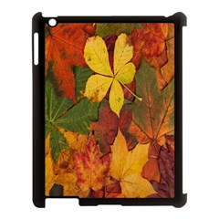 Colorful Autumn Leaves Leaf Background Apple Ipad 3/4 Case (black) by Amaryn4rt