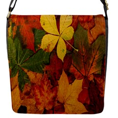 Colorful Autumn Leaves Leaf Background Flap Messenger Bag (s) by Amaryn4rt