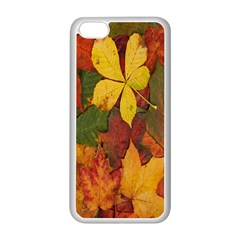 Colorful Autumn Leaves Leaf Background Apple Iphone 5c Seamless Case (white) by Amaryn4rt