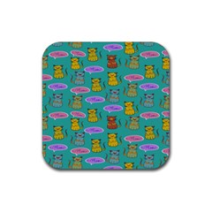 Meow Cat Pattern Rubber Square Coaster (4 Pack)  by Amaryn4rt