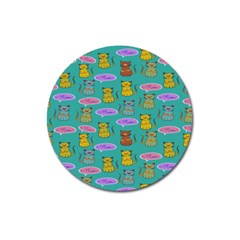 Meow Cat Pattern Magnet 3  (round) by Amaryn4rt